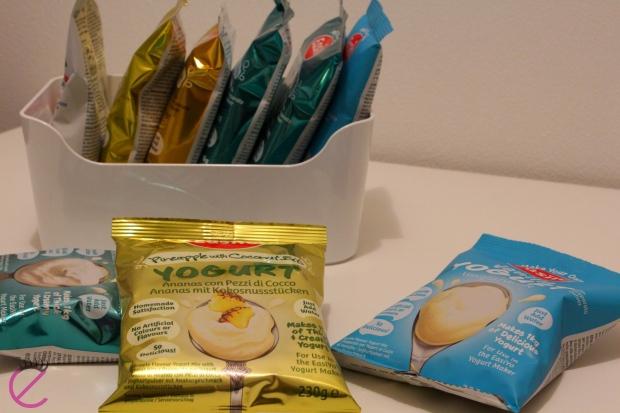 Easiyo nella mia dispensa oggi: greco&cocco, vaniglia, ananas&cocco, fragola, frutto della passione...e limone&zenzero!