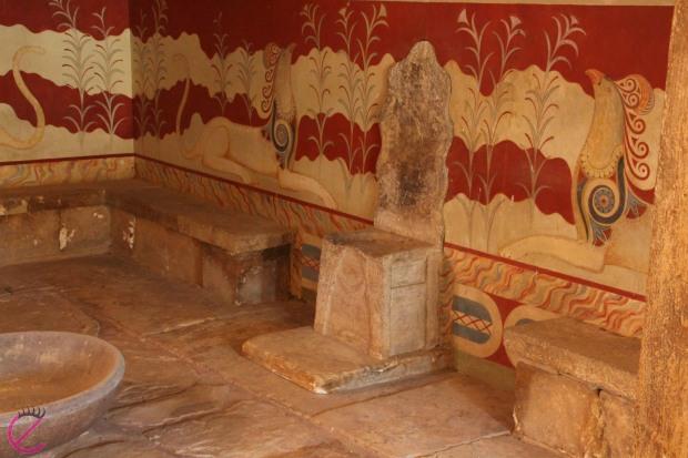 La sala del Trono nel Palazzo di Cnosso